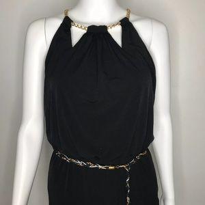 Thalia Sodi Black Jumpsuit with Chain Belt XS